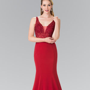 Long Illusion V-Neck Jeweled Prom Dress GL2372